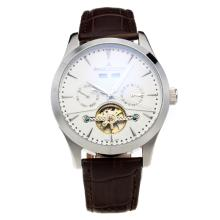 Jaeger-Lecoultre Tourbillon Automatic with White Dial-Leather Strap