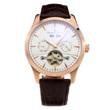 Jaeger-Lecoultre Tourbillon Automatic Rose Gold Case with White Dial-Leather Strap