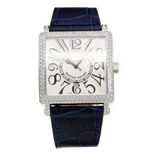 Franck Muller Master Square Diamond Bezel with White Dial-Blue Leather Strap