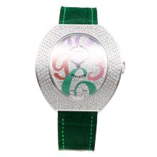 Franck Muller Conquistador Diamond Bezel and Dial with Green Leather Strap