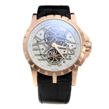 Roger Dubuis Excalibur Tourbillon Automatic Rose Gold Case with White Dial-Leather Strap