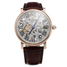 Cartier Calibre de Cartier Manual Winding Rose Gold Case with Skeleton Dial-Leather Strap