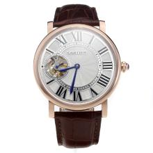 Cartier Calibre de Cartier Tourbillon Manual Winding Rose Gold Case with White Dial-Leather Strap