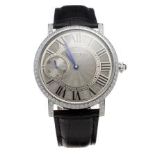 Cartier Calibre de Cartier Manual Winding Diamond Bezel with Gray Dial-Leather Strap