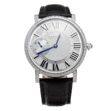 Cartier Calibre de Cartier Manual Winding Diamond Bezel with White Dial-Leather Strap