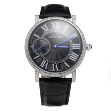 Cartier Calibre de Cartier Manual Winding Diamond Bezel with Black Dial-Leather Strap
