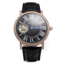Cartier Calibre de Cartier Tourbillon Manual Winding Rose Gold Case Diamond Bezel with Black Dial-Leather Strap