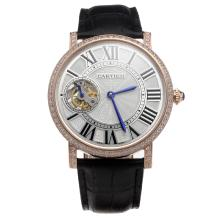 Cartier Calibre de Cartier Tourbillon Manual Winding Rose Gold Case Diamond Bezel with White Dial-Leather Strap