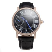 Cartier Calibre de Cartier Manual Winding Rose Gold Case Diamond Bezel with Black Dial-Leather Strap