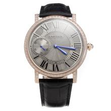 Cartier Calibre de Cartier Manual Winding Rose Gold Case Diamond Bezel with Gray Dial-Leather Strap