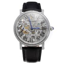 Cartier Calibre de Cartier Manual Winding Diamond Bezel with Skeleton Dial-Leather Strap