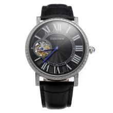 Cartier Calibre de Cartier Tourbillon Manual Winding Diamond Bezel with Black Dial-Leather Strap
