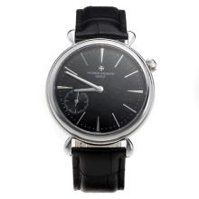 Vacheron Constantin Manual Winding with Black Dial-Leather Strap