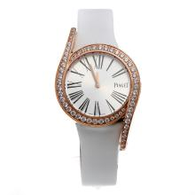 Piaget Limelight Rose Gold Case Diamond Bezel with Silver Dial-White Leather Strap
