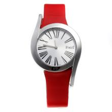 Piaget Limelight with Silver Dial-Red Leather Strap