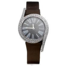 Piaget Limelight Diamond Bezel with Black Dial-Brown Leather Strap