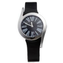 Piaget Limelight with Black Dial-Black Leather Strap