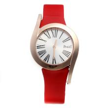 Piaget Limelight Rose Gold Case with Silver Dial-Red Leather Strap