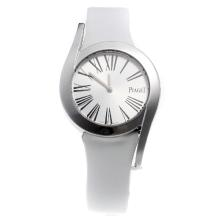 Piaget Limelight with Silver Dial-White Leather Strap