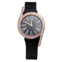 Piaget Limelight Rose Gold Case Diamond Bezel with Black Dial-Black Leather Strap