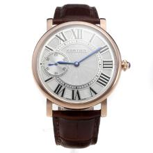 Cartier Calibre de Cartier Manual Winding Rose Gold Case with White Dial-Leather Strap