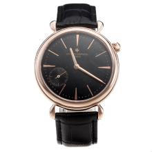Vacheron Constantin Manual Winding Rose Gold Case with Black Dial-Leather Strap