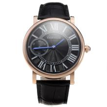 Cartier Calibre de Cartier Manual Winding Rose Gold Case with Black Dial-Leather Strap