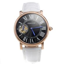 Cartier Calibre de Cartier Tourbillon Manual Winding Rose Gold Case with Black Dial-Leather Strap