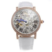 Cartier Calibre de Cartier Manual Winding Rose Gold Case Diamond Bezel with Skeleton Dial-Leather Strap