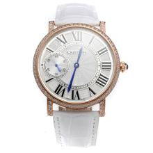 Cartier Calibre de Cartier Manual Winding Rose Gold Case Diamond Bezel with White Dial-Leather Strap