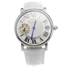 Cartier Calibre de Cartier Tourbillon Manual Winding with White Dial-Leather Strap
