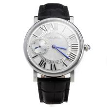 Cartier Calibre de Cartier Manual Winding with White Dial-Leather Strap