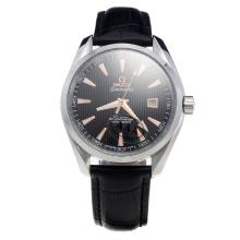 Omega Seamaster Swiss ETA 2836 Movement with Black Dial-Leather Strap