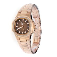 Patek Philippe Nautilus Full Rose Gold Diamond Bezel with Brown Dial-Lady Size