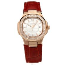 Patek Philippe Nautilus Rose Gold Case Diamond Bezel Silver Dial with Leather Strap-Lady Size-1