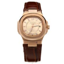 Patek Philippe Nautilus Rose Gold Case Champagne Dial with Leather Strap-Lady Size