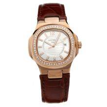 Patek Philippe Nautilus Rose Gold Case Diamond Bezel Silver Dial with Leather Strap-Lady Size