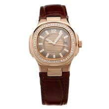 Patek Philippe Nautilus Rose Gold Case Diamond Bezel Brown Dial with Leather Strap-Lady Size