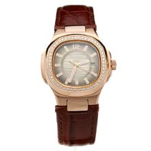 Patek Philippe Nautilus Rose Gold Case Diamond Bezel Dark Gray Dial with Leather Strap-Lady Size