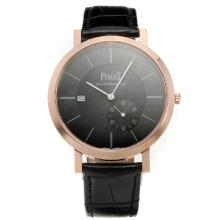 Piaget Altiplano Automatic Rose Gold Case with Black Dial-Leather Strap