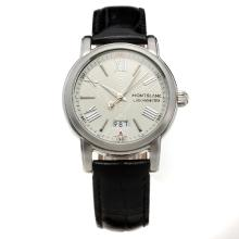 Montblanc Star with White Dial-Leather Strap