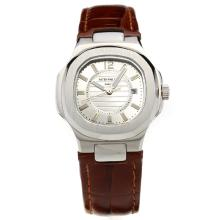 Patek Philippe Nautilus Silver Dial with Leather Strap-Lady Size