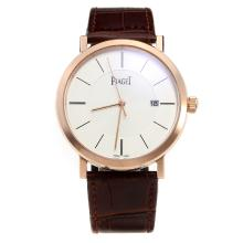 Piaget Altiplano Rose Gold Case with White Dial-Leather Strap-1