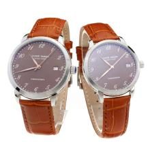 Ulysse Nardin Number Markers with Brown Dial-Brown Leather Strap