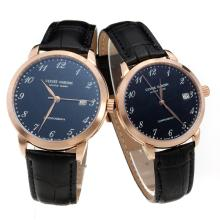 Ulysse Nardin Rose Gold Case Number Markers with Black Dial-Black Leather Strap