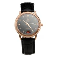 Omega De Ville Automatic Rose Gold Case with Black Dial-Leather Strap-5