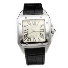 Cartier Santos 100 Swiss ETA 2836 Movement with White Dial-Leather Strap