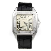 Cartier Santos 100 Swiss ETA 2836 Movement Diamond Bezel with White Dial-Leather Strap