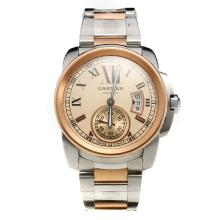 Cartier Calibre de Cartier Swiss ETA 2836 Movement Full Two Tone with Champagne Dial