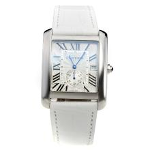 Cartier Tank with White Dial-White Leather Strap-1